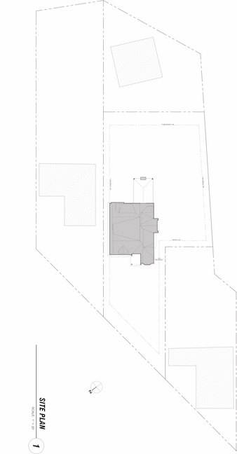 Site plan of home on angled street between two neighboring houses