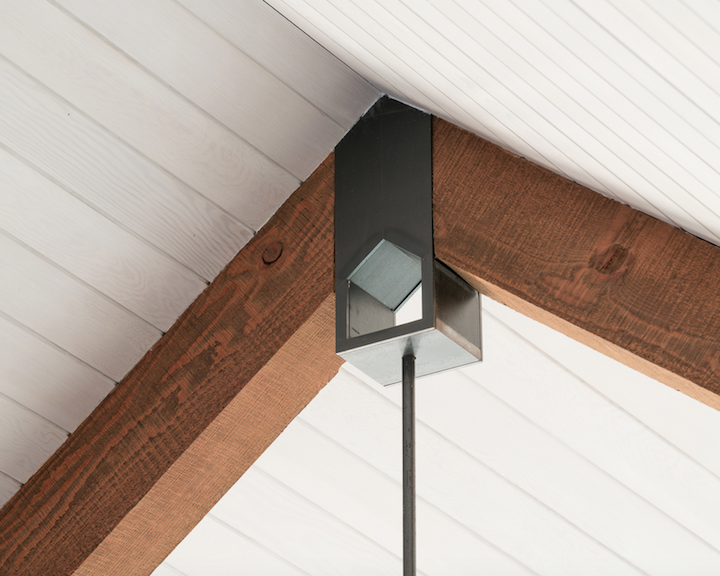 Ceiling and timber beam intersection