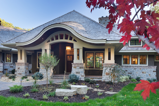 Portico view of Craftsman-style porch
