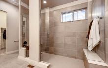 Curbless shower, no door, bench seats at each end