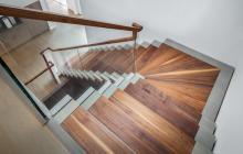 Black walnut and white oak stairway