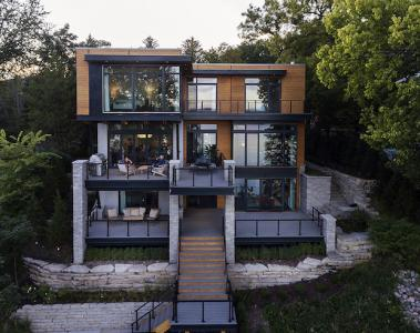 Contemporary lake house on Lake Geneva, Wis.