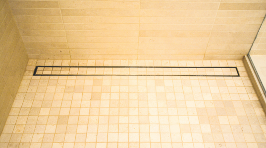 luxe offers this linear shower drain option with tile insert as a decorative option for any shower the drains are available in six standard sizes